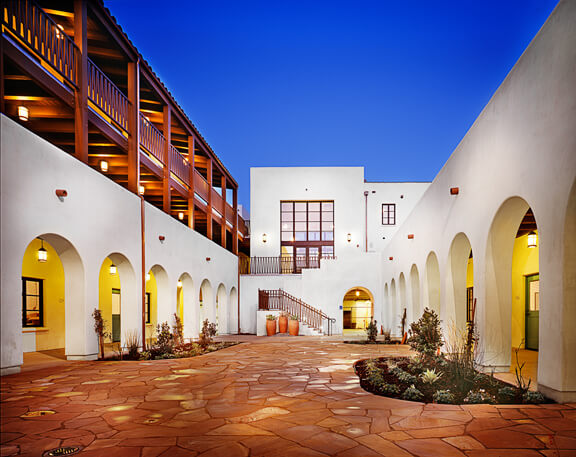 Outside view of the courtyard at night
