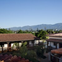 Roof view of the Spanish-style El Carrillo apartment's courtyard