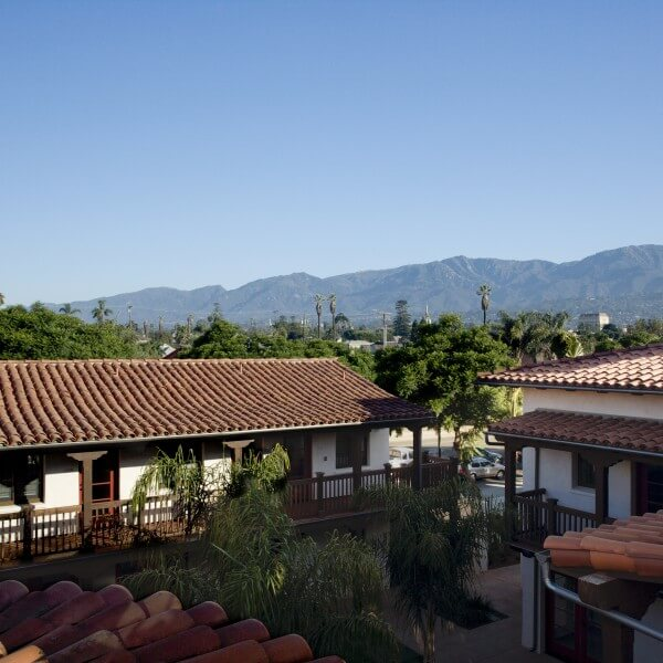 Roof view of the El Carrillo apartments courtyard