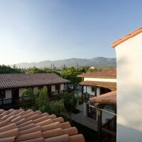 Roof view of the El Carrillo Spanish-style apartment's courtyard