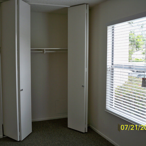 Inside a unit, showing the empty closet