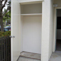 Outside view of an empty outdoor closet of a unit
