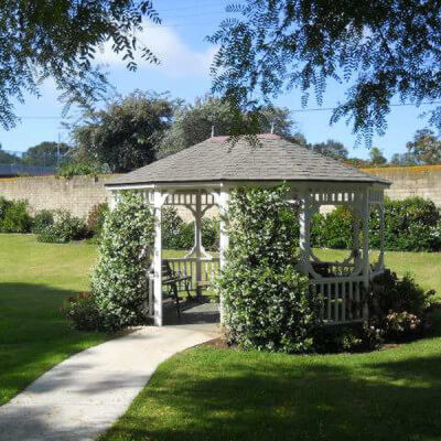 Outside view of gazebo on the lawn