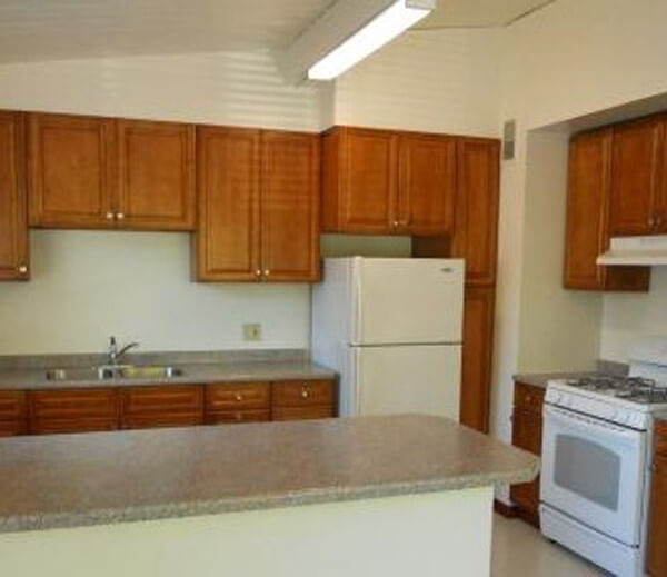 Inside a unit, showing the kitchen