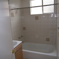 Inside a unit, showing the bathroom