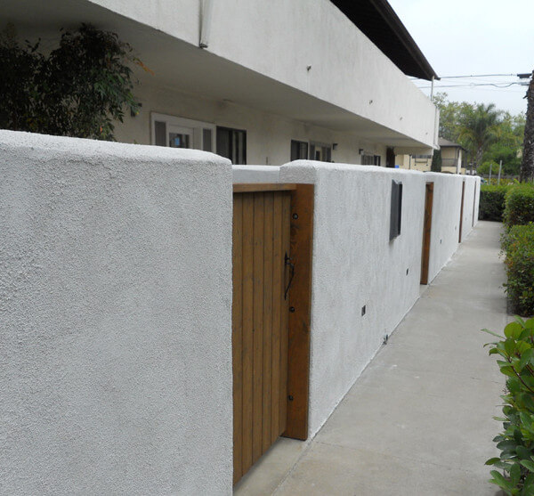 Outside view of the pathway in front of units