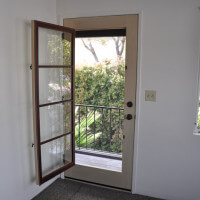 Inside a unit, view of the door leading outside
