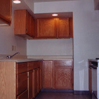Inside a unit, showing the full kitchen