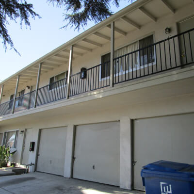 Outside view of the garages and balconies