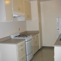 Inside a unit, view of the kitchen