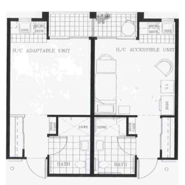 Floorpan of a Garden Court unit