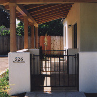 Outside view of the small gates in front of unit 526