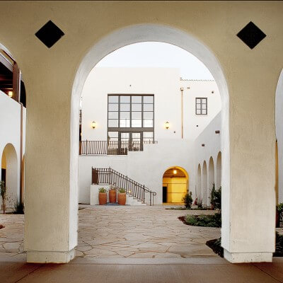 View of courtyard through entryway