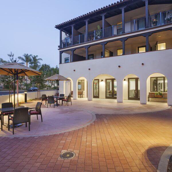 Building exterior with patio area