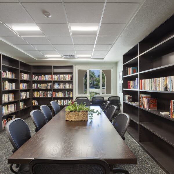 photo of library with table and chairs