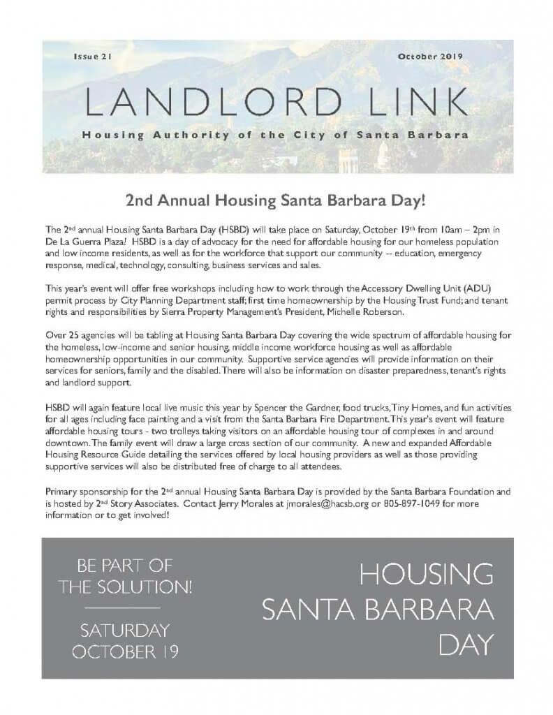Landlord Link Newsletter Coversheet